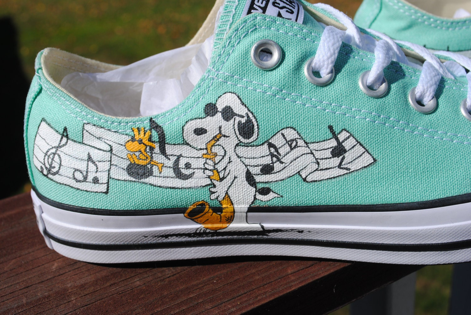 Hand Painted Snoopy and Joe Cool Musical Converse shoes-included-- sorry  sold. gallery photo ... 5468731fb