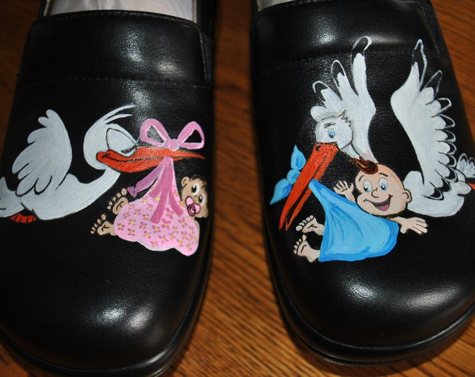 READY FOR SALE Hand Painted Nursing shoes for L&D or nicu nurses Alegria size 37 = 7/7.5 Keli Pro Black Nappa Ready to ship