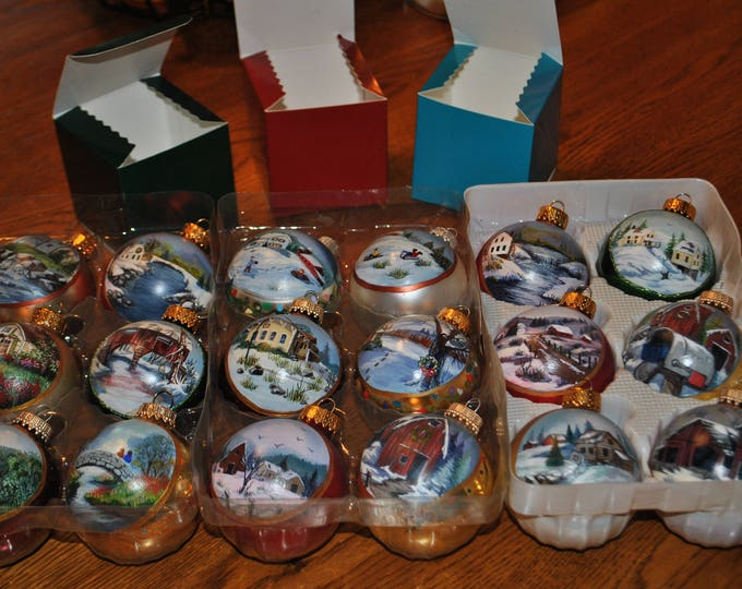 Hand Painted Christmas Ornaments package of 6, comes with individual boxes for each ornament, BUY 5 GET 1 FREE