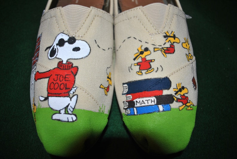Custom Hand Painted snoopy slip ons Cool Joe on Toms sorry  4a38a93b0