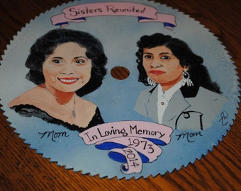 """Hand Painted Saw Portrait size 7.25"""" saw blade - sold"""