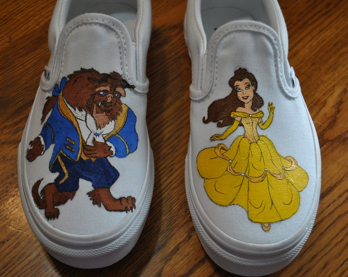 Custom Hand painted sneakers of Beauty and the Beast ... come look at Belle  Sorry sold just a sample of what can be done