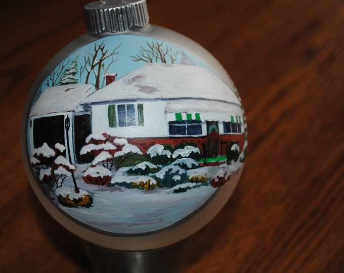 Hanp Painted Custom Home Ornament done from a picture for a christmas gift.  - sold