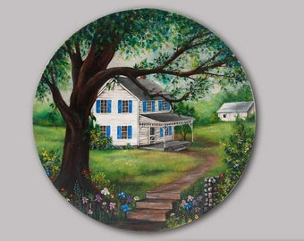 Hand painted Round Box Home Sweet Home 4 Season's - gift not for sale  just to show what i can do.
