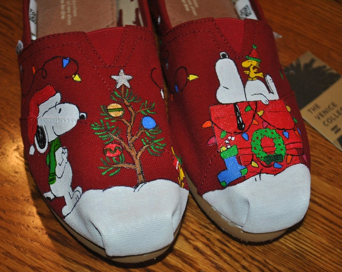 Custom Hand Painted Snoopy Christmas Tom's size 9.5 sorry sold