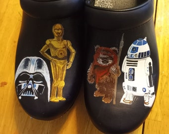 Custom Hand Painted Nursing Shoes -- Star Wars shoes, Darth Vader C3PO, R2D2, EWok  Shoes Included** Sorry SOLD