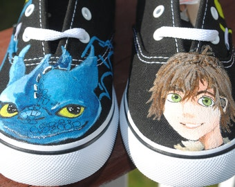 New Cute Toothless and Hiccup Design Vans shoes for children size 10 - SOLD