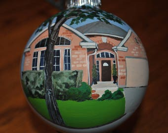 New Home Hand Painted Ornament  -sold  done from picture