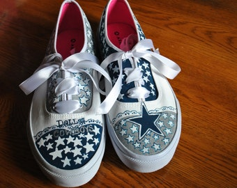 Ready to ship Cowboys Fans here are some hand painted treasures READY FOR SALE, cowboys sneakers, hand painted cowboys shoes size 10 womens