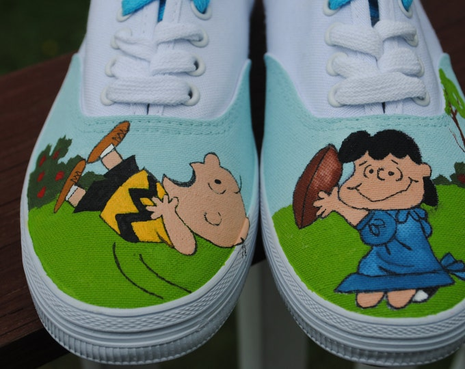 Peanuts Design Hand Painted with Lucy and Charlie Brown ready for football season  - sold