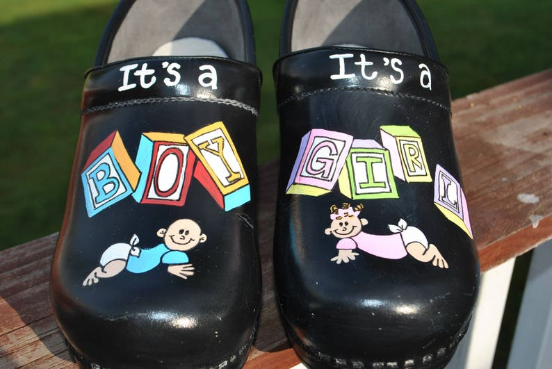 63fdf0a645a26 New NP nurses shoes It's a Boy It's a Girl custom art work.. sorry sold  shoes included in price