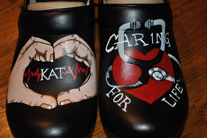 5bc889be1423a New custom hand painted nurses dansko with hospital name KAT - sold * note  shoes included in price