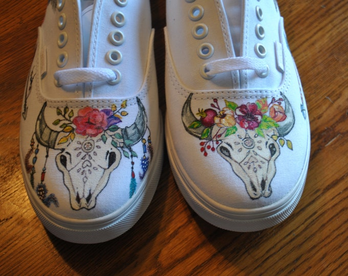 Custom Hand painted Vans, Boho/gypsy  Bull Skull with flowers. sorry sold, custom hand painted sneakers, Price includes the vans shoes