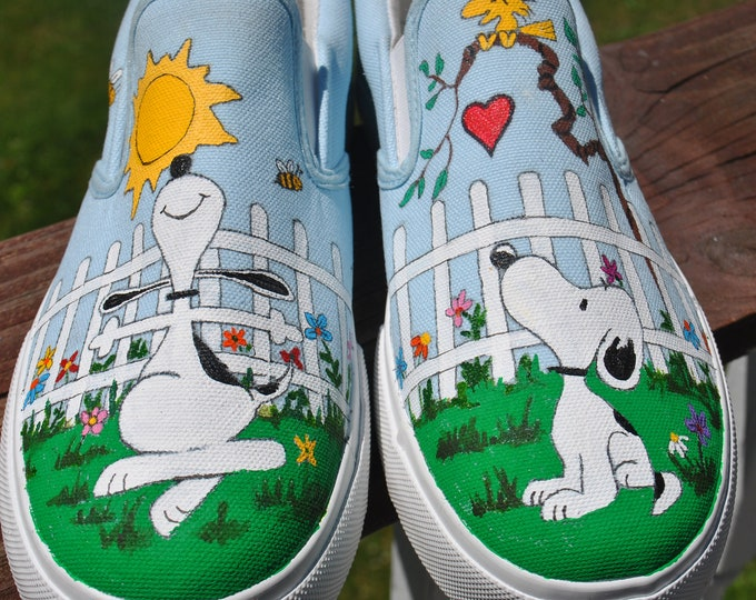 Snoopy Custom Hand Painted Vans sneakers snoopy shoes, sorry sold