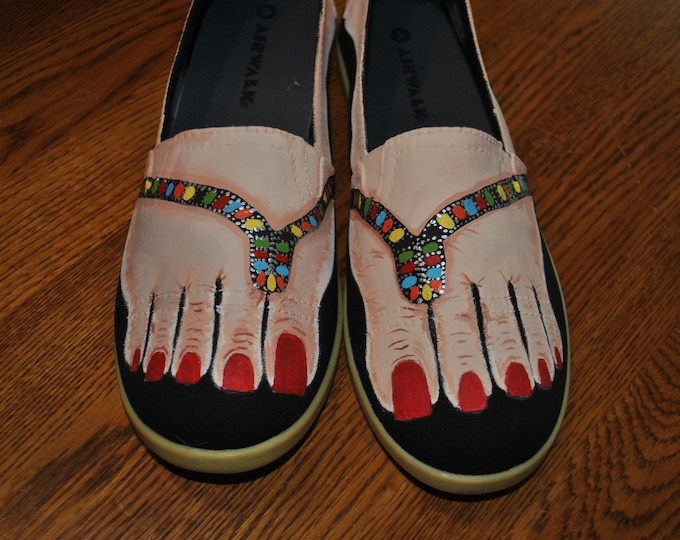 READY to SHIP Custom Feet with multi color sandals size 8.5 - Ready to Ship