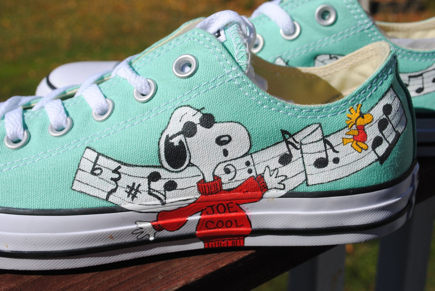Hand Painted Snoopy and Joe Cool Musical Converse shoes-included-- sorry  sold 32defb3bc