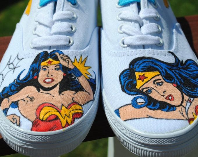 Custom Design Hand Painted  Wonder Women size 8  sold