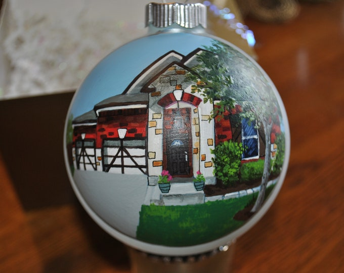 New Hand painted Home ornament, christmas ornament, custom home ornament - sold