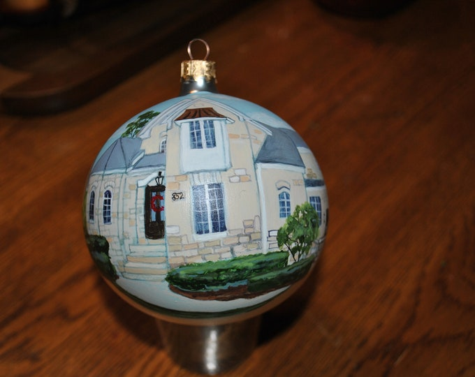 Custom Hand Painted Christmas Ornament of Home, Done from photo... -  sorry sold