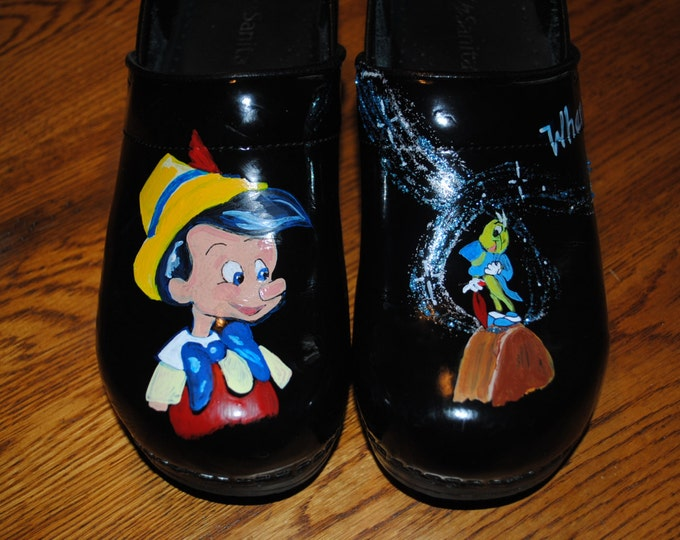 New Nurses shoes supplied by the customer With Pinocchio and Jiminy cricket  - not for sale SOLD