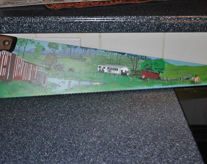 Custom Hand Painted Hand Saw, great birthday hand painted saw, great family christmas present done from pictures.. sold