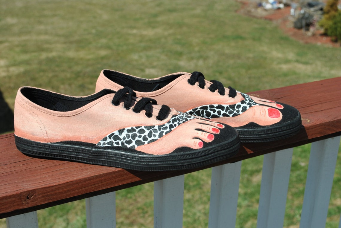 Cute and Funny Hand Painted Bare Feet shoes size 8, painted with animal print sandals and polished nails  -SOLD