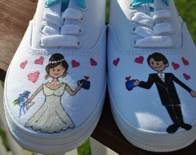 Custom Wedding Sneakers womens size 9.5 - Sold