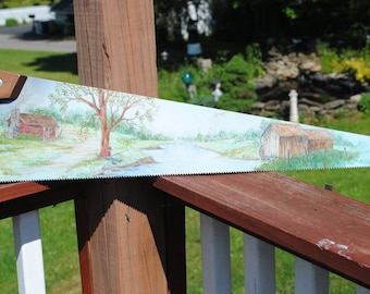 For SALE  A vintage hand painted saw blade.. For sale READY to SHIP