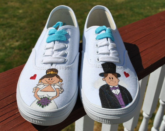 For SAle Wedding Day Sneakers Hand painted sneakers size 7.5  READY TO SHIP