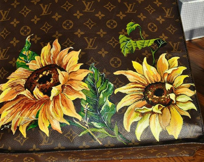 custom Sunflowers and flowers Painted on MCM Bag and pouch