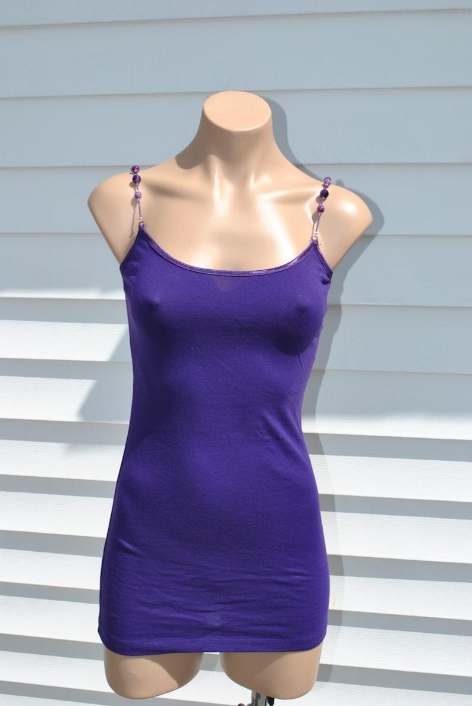 Dark Purple Cami with Semi-Precious Amethyst hand beaded straps size small