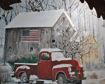 """Custom 32"""" radius Saw Blade, Red Christmas Truck and old barn. -   sorry sold."""