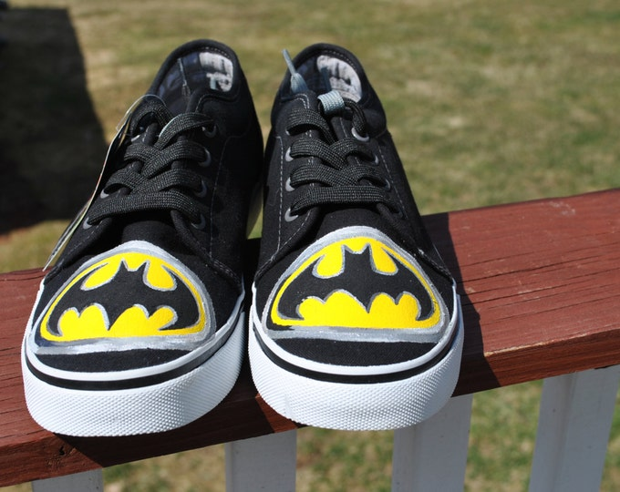 For Sale Black Punkrose Hand Painted Sneakers size 8 with Batman Insignia  READY TO SHIP