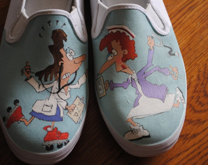 For Sale Hey New Funny Nurses shoes... RN or FNP  Love you guys. size 11 keds  READY to ship