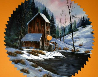 """Antique Large 24"""" Sawblade with Beautiful Winter Landscape For Sale"""