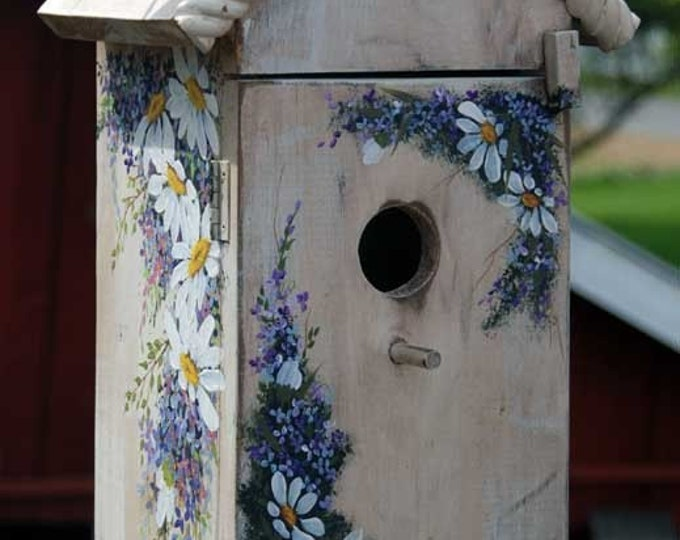 Hand Painted Bird House with shelf - SOLD sample only you can pick what flowers you want on the birdhouse