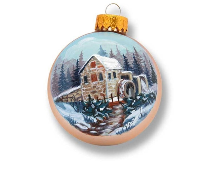 Hand Painted Old Stone Mill winter scene on gold ornament