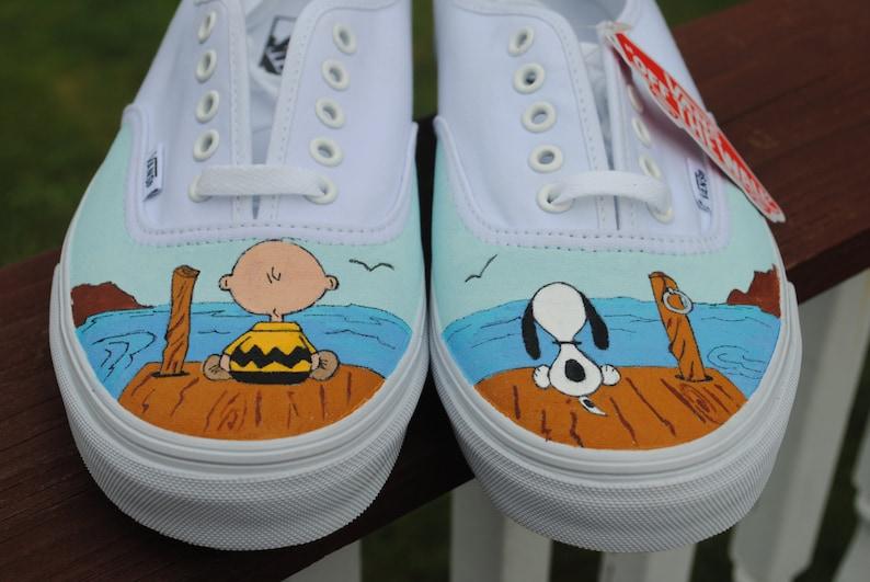 12a8aa3c1031 New Design Custom Hand Painted Mens Vans shoe Charlie Brown