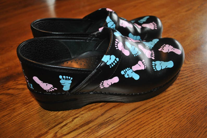 New Custom Hand Painted NICU Dansko with baby feet....customer provided the shoes sold