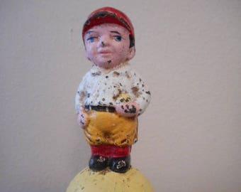 "Hubley ""Mascot"" #820 Cast Iron Still Bank, Baseball, National, American, League"