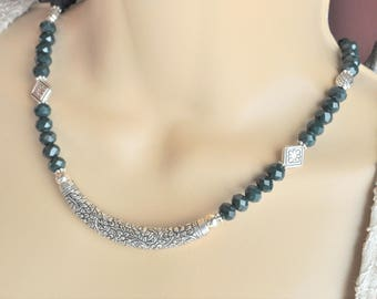 Emerald Green Crystal Necklace and Earring Set Featuring an Ornate Balinese Silver Curved Bar