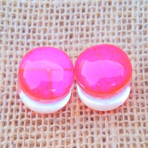 14 mm 916 Inch Gauges Ear Plugs Handmade Rainbow Color Changing Dichroic Glass Clear Resin Double Flared Plugs Size 14mm or  916 Inch