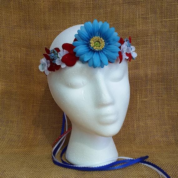 Patriotic Carnation July 4th Flower Crown Gingham