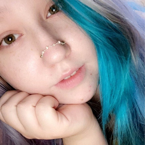 Over the Nose Bridge Piercing Chain Hand-Built Beaded Opal Lapis Any Size Made to Order CUSTOM Bronze Beaded Nose Piercing Chain