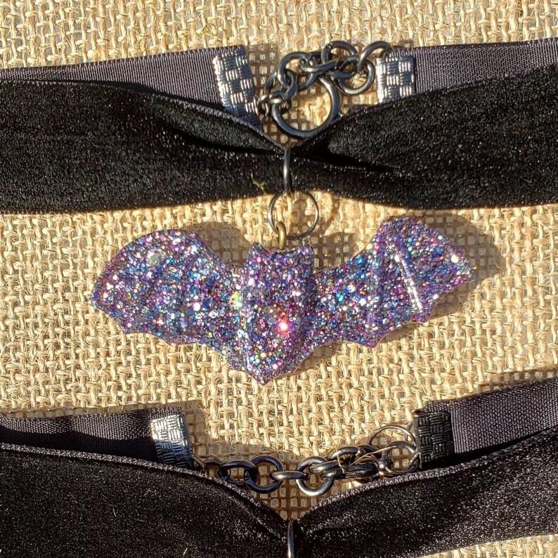 Bat Choker Creepy Cute Glitter Bat Purple Sparkle Resin Bats Gothic Lolita Coord Black Velvet Choker Halloween Costume  Handmade