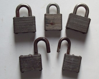 5 Vintage Master Padlocks, Art Supply - Old, Assemblage, Collage, Altered Art Pieces - Laminated Locks for Mixed Media, Upcycle, Repurpose