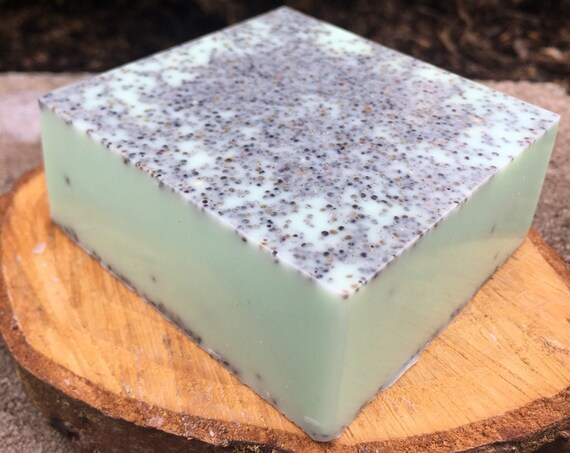 Peppermint Vanilla Poppyseed Exfoliating Shea Butter Soap Bar