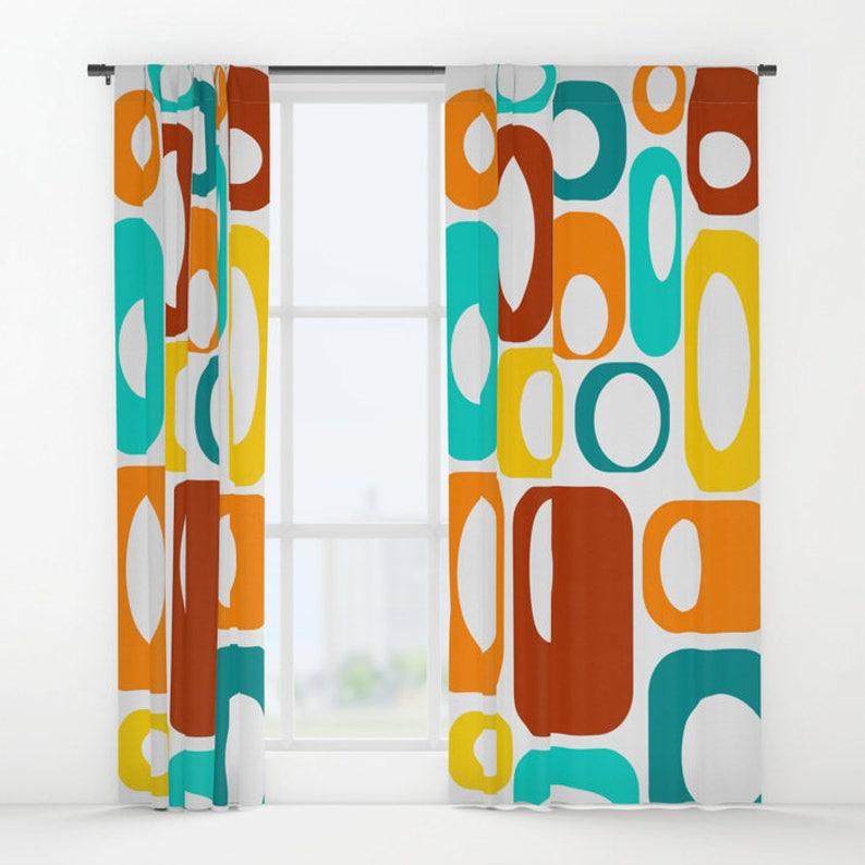 Retro Curtain Panels Modern Curtains Retro Curtains Retro Drapery Panels Retro Window Curtains Mod Drapery Panels Mid Century Curtains