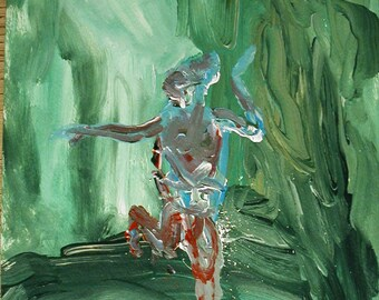 Dancer No.3  Visonary  abstract outsider art painting by artist Fred Wilder