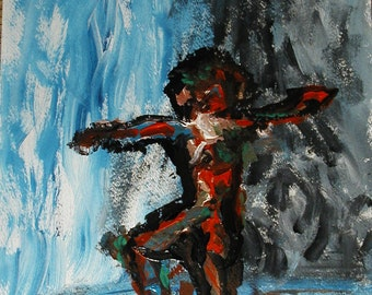 Dancer No.2 Acylic paining on heavy paper by visionary artist Fred Wilder